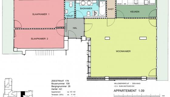 Zeestraat 179 per 1st December , Furnished 2 bedroom in Willemspark building