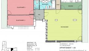 Zeestraat 179 per 1 December , gemeubileerd 2 slaapkamer appartement in Willemspark